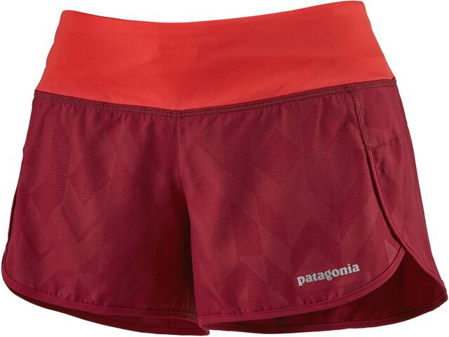 "Patagonia Strider Shorts 3 1/2"" Women fast quilt emboss/roamer red"